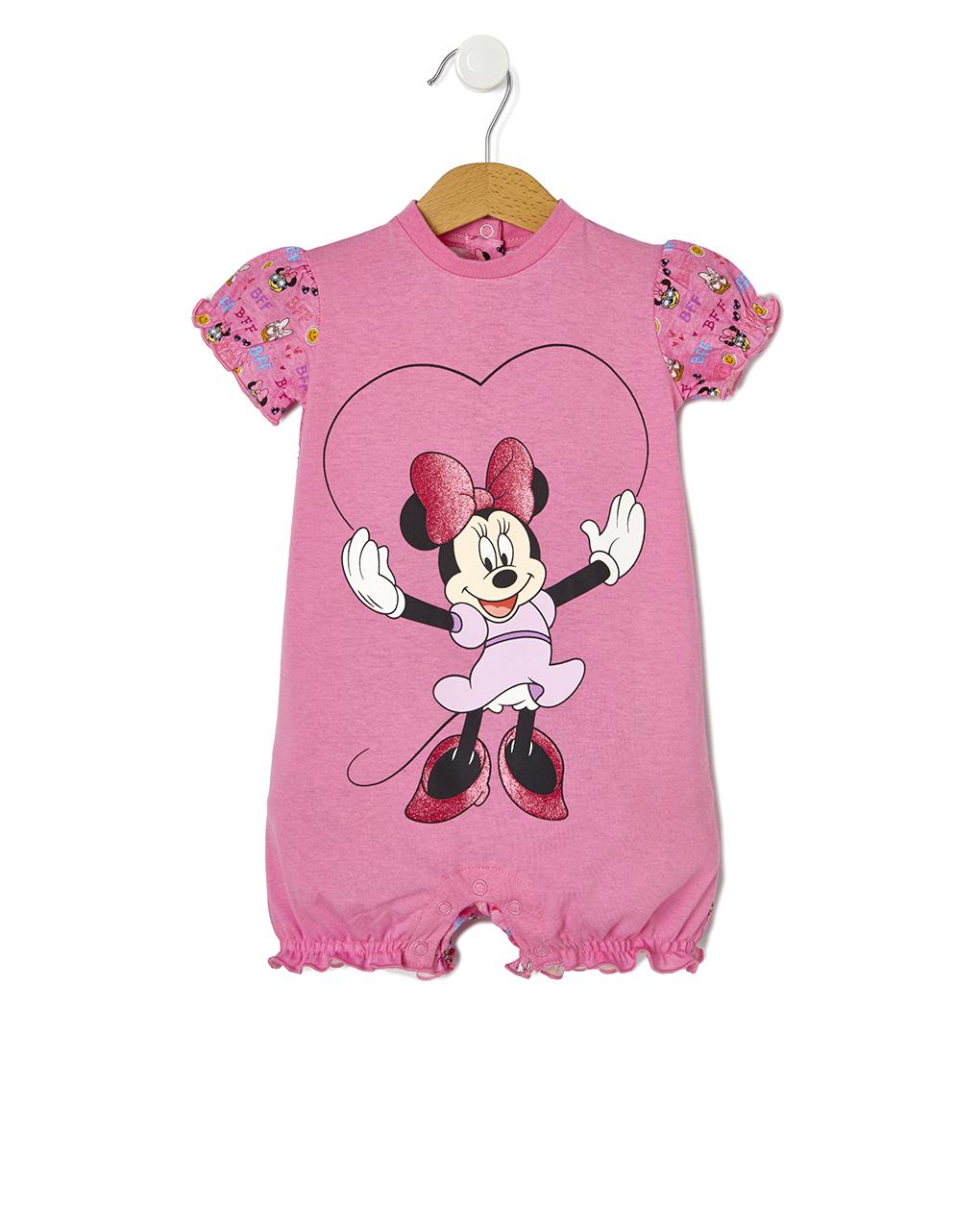 Πιτζάμα Ολόσωμη Jersey Ροζ με Στάμπα Minnie για Κορίτσι