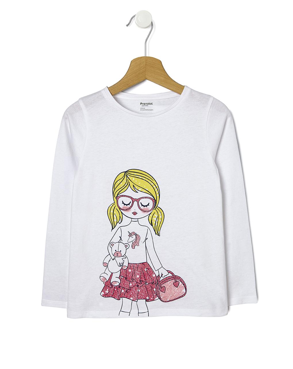 Μπλούζα Λευκή με Στάμπα για Κορίτσι