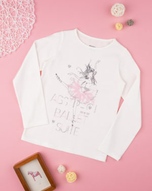 Μπλουζάκι Μακρυμάνικο με Στάμπα Μπαλαρίνα για Κορίτσι