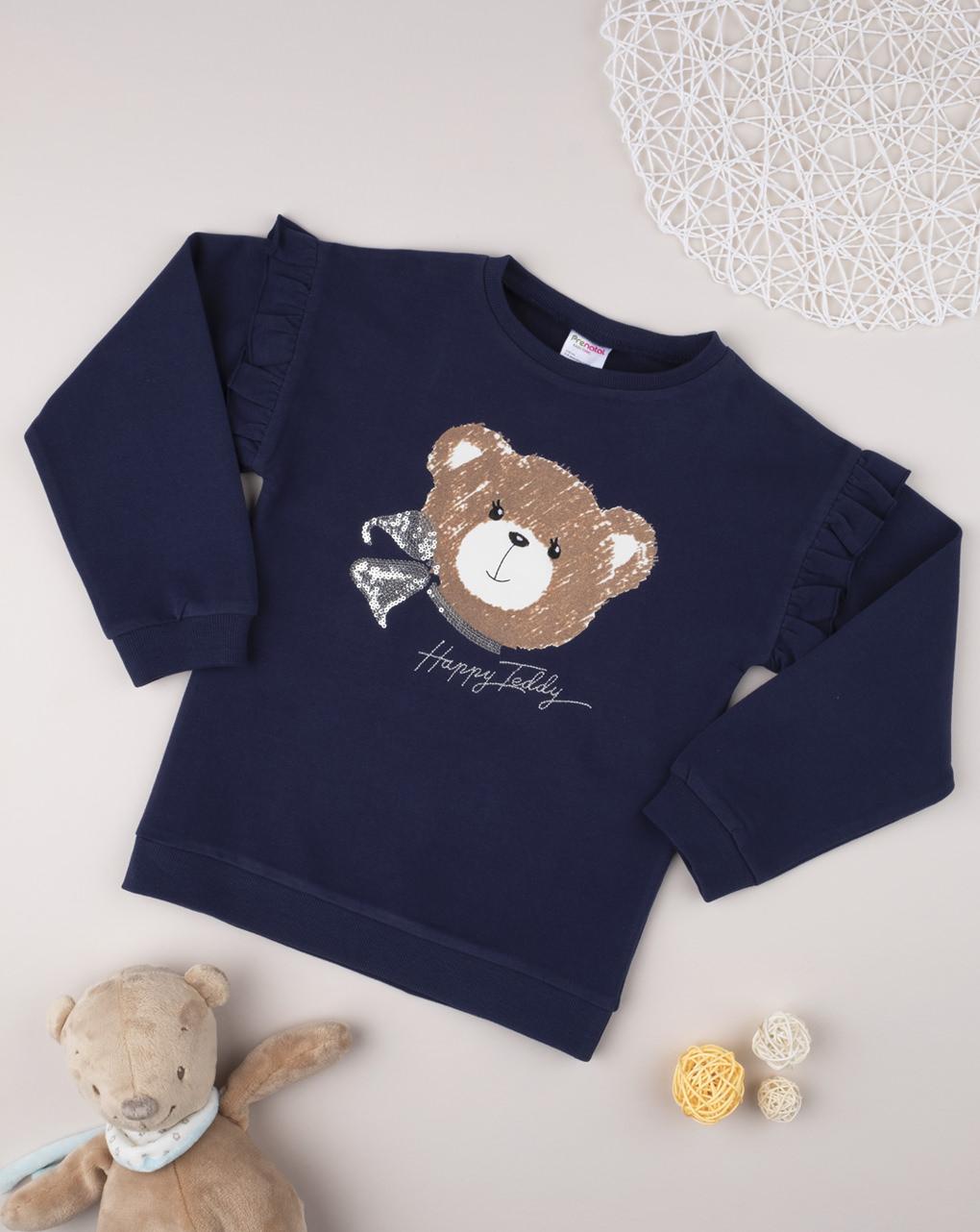 Μπλούζα Μακρυμάνικη Σκούρο Μπλε με Αρκουδάκι για Κορίτσι