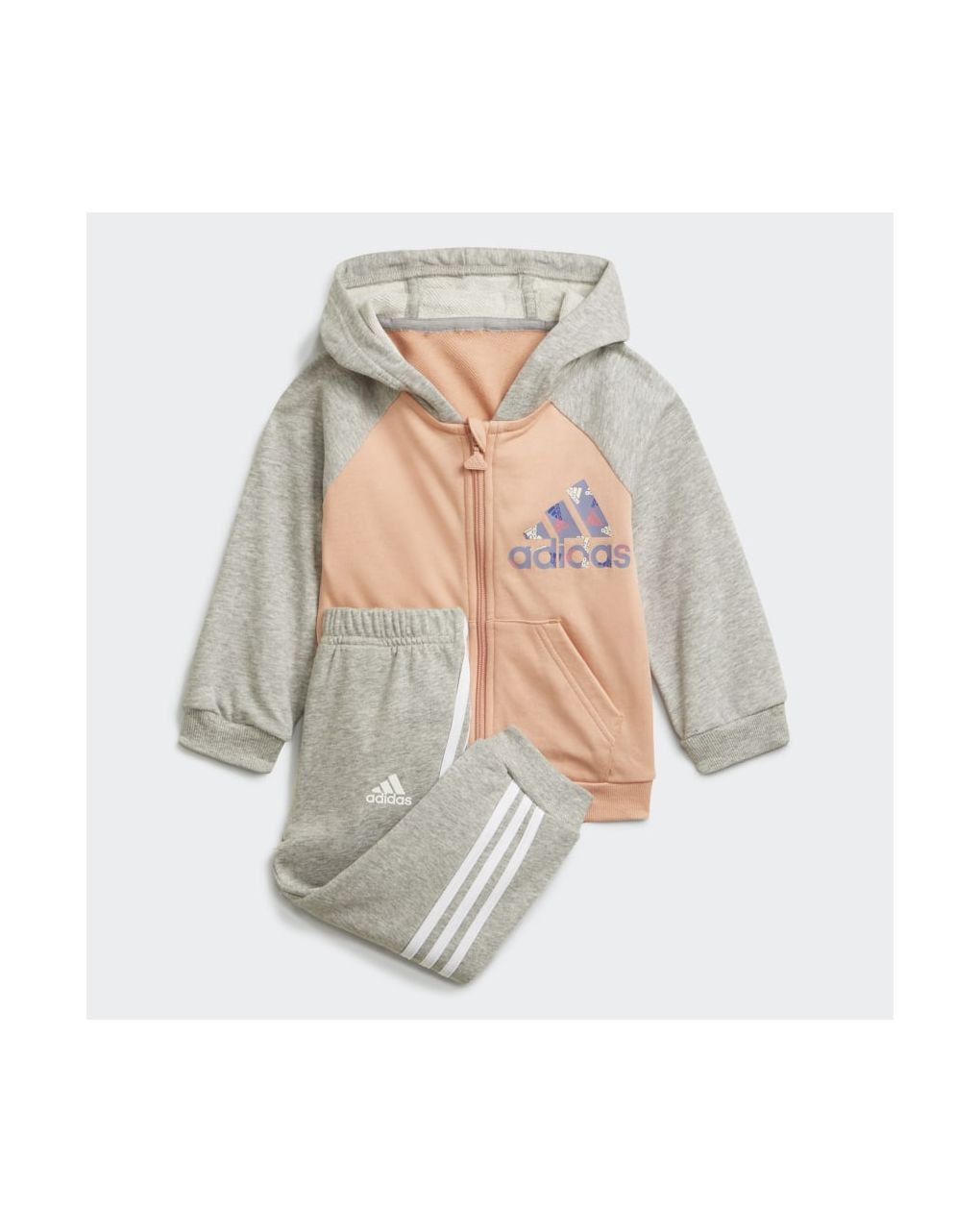 Adidas Σετ Φόρμας Badge of Sport Full Γκρι/Ροζ για Κορίτσι H28831