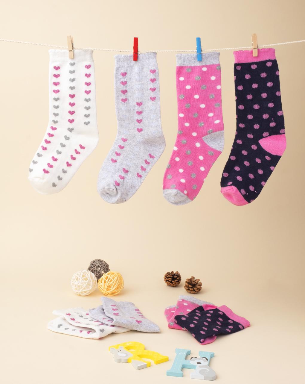 Κάλτσες συσκ. x4 με πουά και καρδιές για Κορίτσι