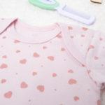 Κορμάκι Κοντομάνικο Βαμβακερό Ροζ με Καρδούλες για Κορίτσι