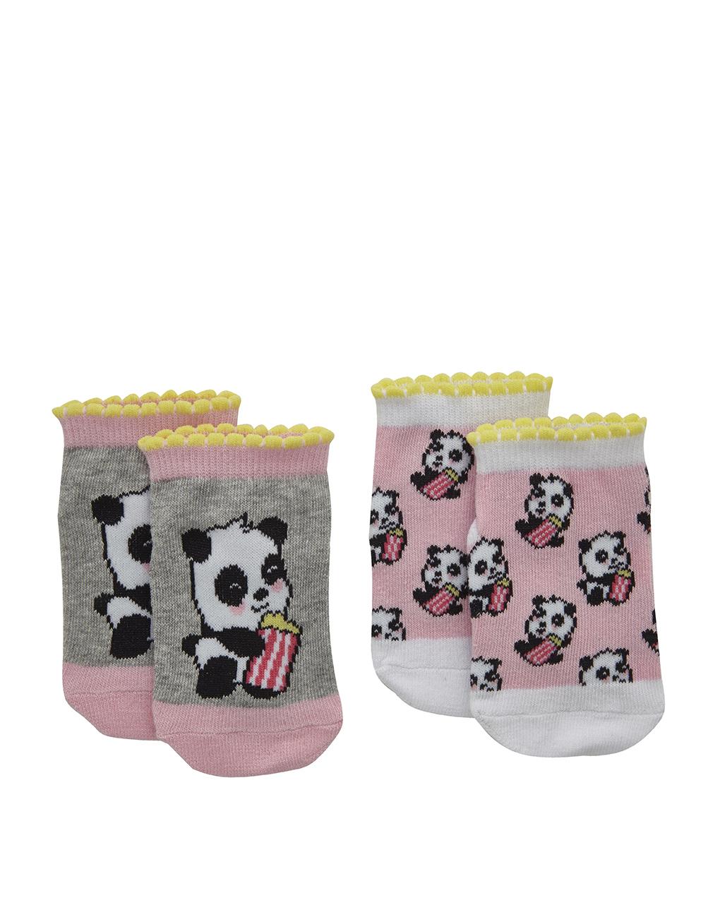 Καλτσάκια Κοντά με Σχέδιο Panda Πακέτο x2 για Κορίτσι