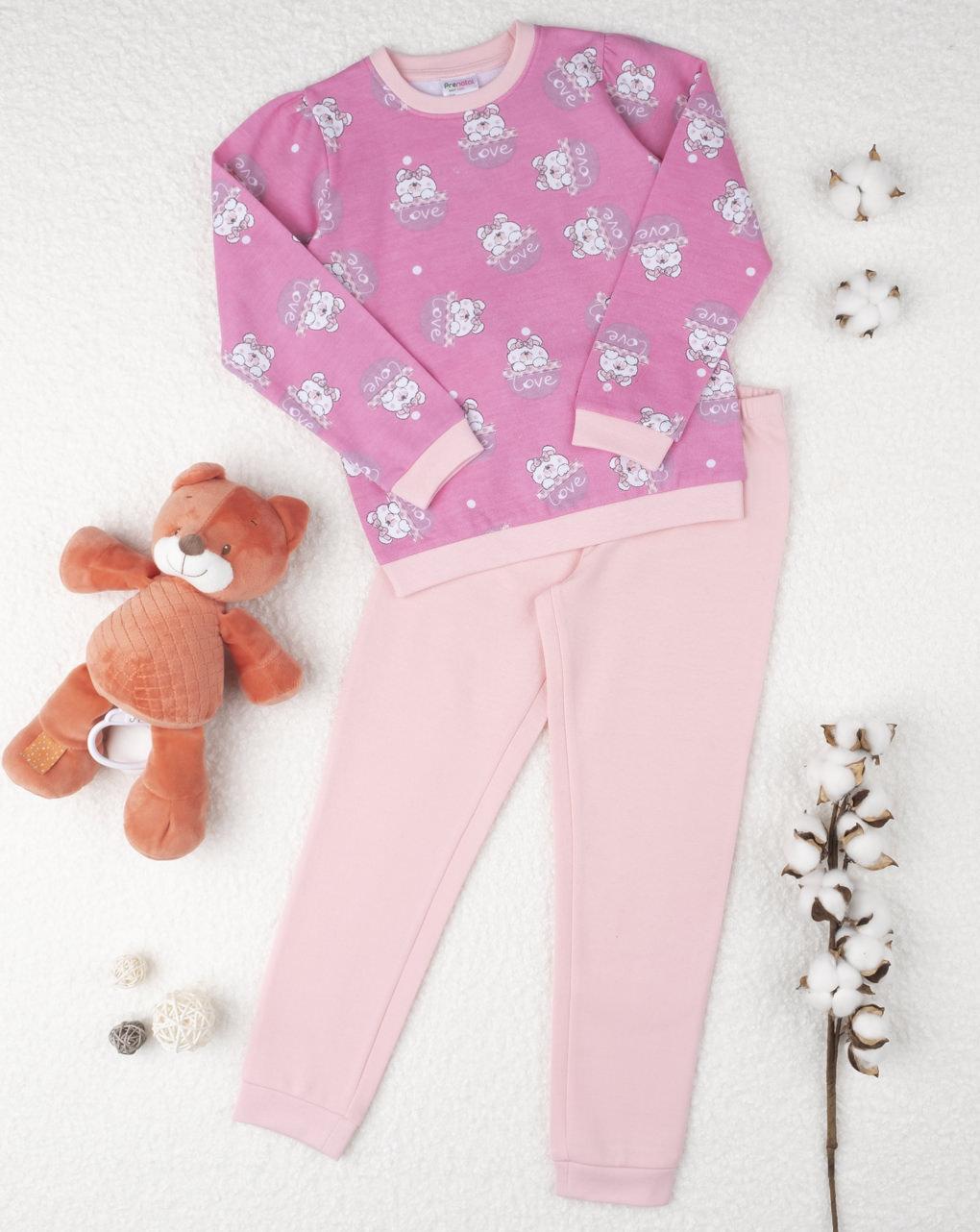 Πιτζάμα Φέλπα Ροζ με Αρκουδάκια για Κορίτσι
