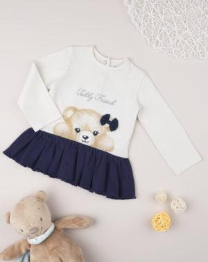 Mπλούζα Με Αρκουδάκι Εκρού-Μπλε για Κορίτσι