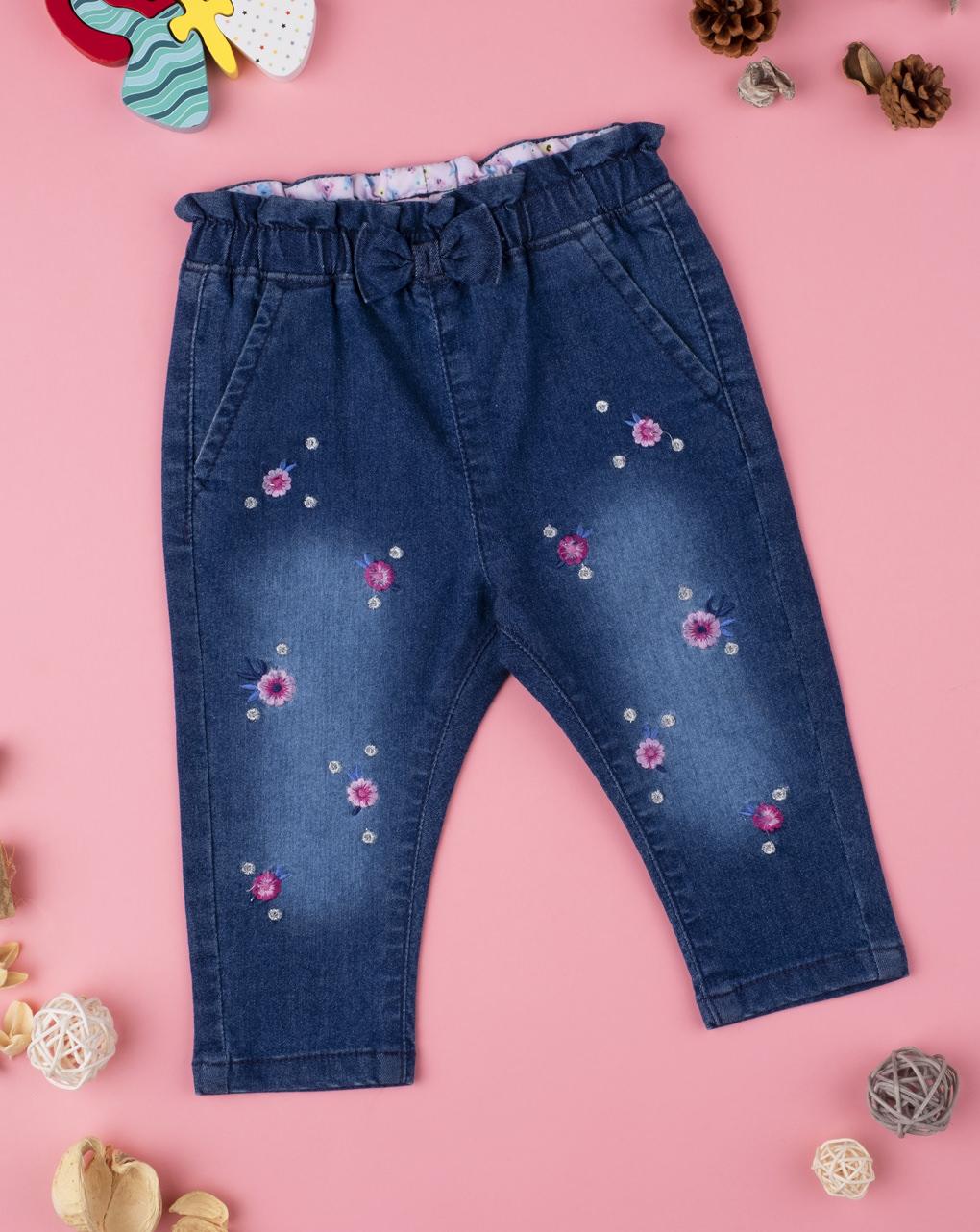 Παντελόνι Denim με Λουλουδάκια για Κορίτσι