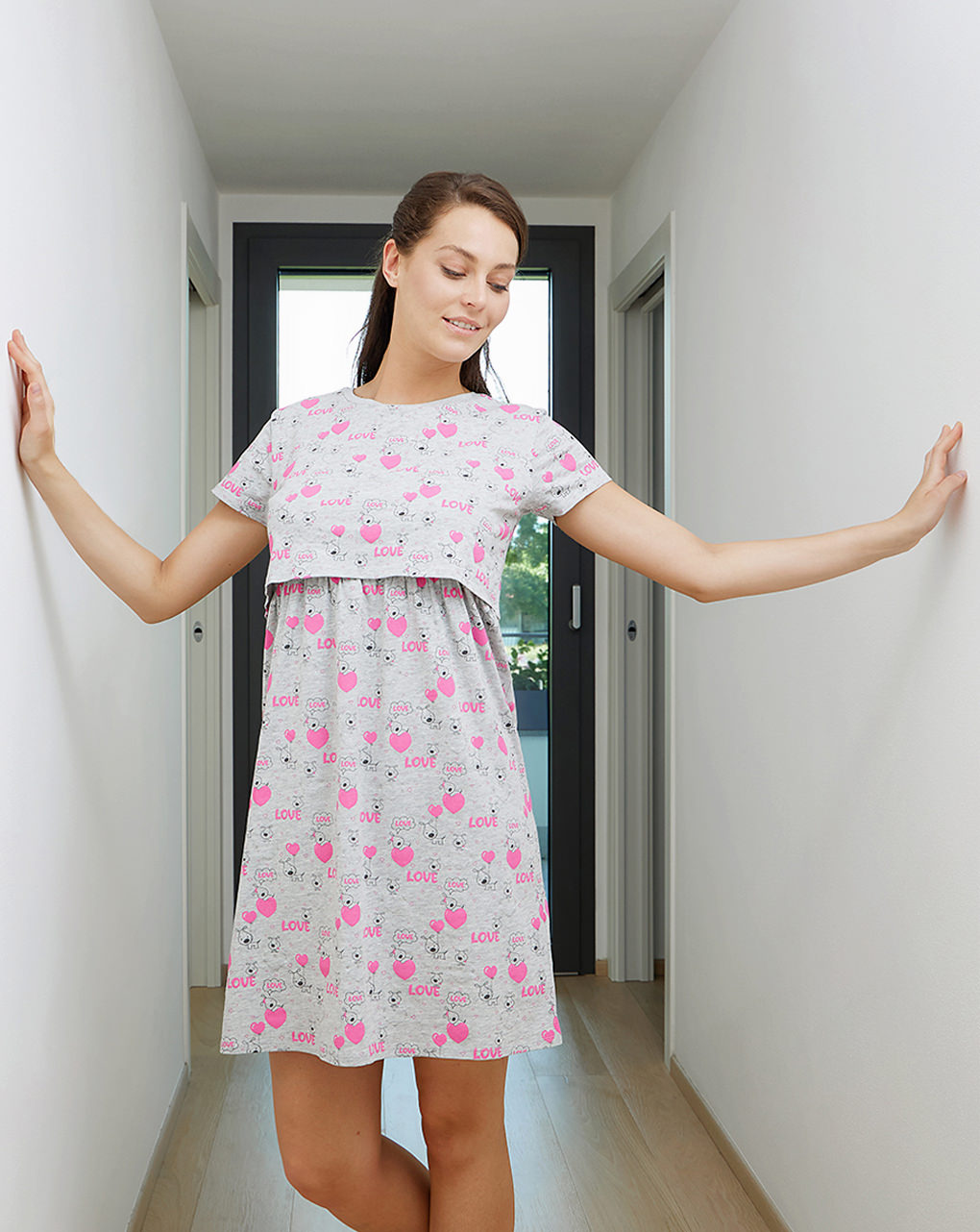 Γυναικείο Νυχτικό Εγκυμοσύνης-Θηλασμού με Εμπριμέ Στάμπα
