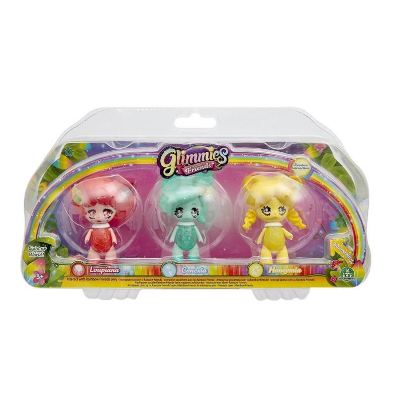 Glimmies Rainbow Friends Σετ 3 Κούκλες - 2 Σχέδια GLN02110