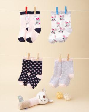 Κάλτσες Πακέτο x4 με Ποντικάκια για Κορίτσι