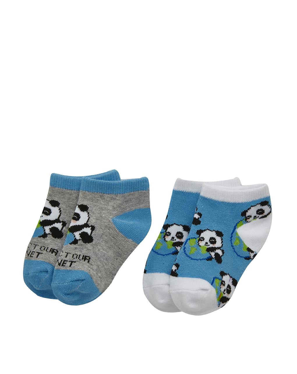 Καλτσάκια Κοντά με Σχέδιο Panda Πακέτο x2 για Αγόρι