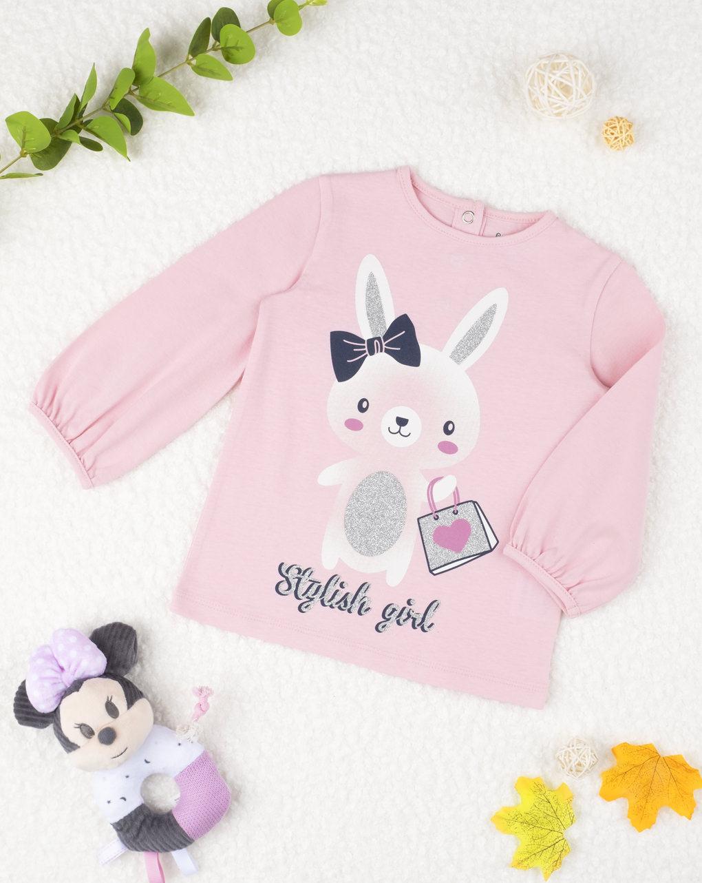 Μπλουζάκι Μακρυμάνικο με Κουνελάκι Ροζ για Κορίτσι