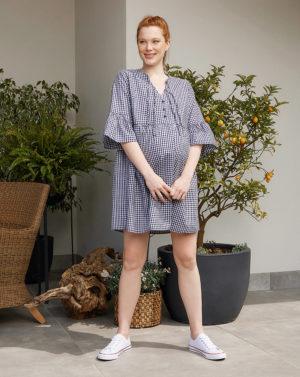 Γυναικείο Φόρεμα Εγκυμοσύνης-Θηλασμού Καρό