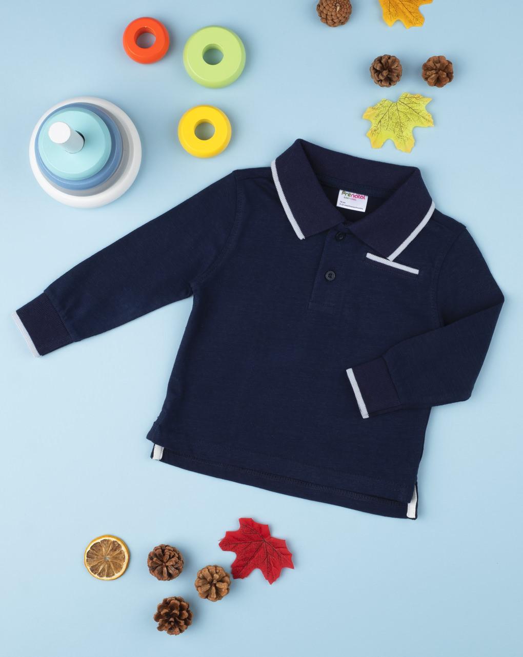 Μπλούζα Πόλο Μακρυμάνικη Σκούρο Μπλε για Αγόρι