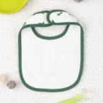 Σαλιάρα Λευκή/Πράσινο με Δεινοσαυράκια για Αγόρι