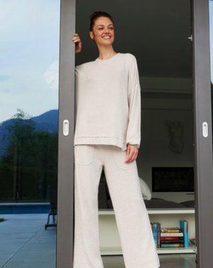 Γυναικείο Παντελόνι Φόρμας με Υφή Πλεκτού Κρεμ