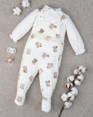 Σετ Σαλοπέτα και Μπλουζάκι Βαμβακερά με Αρκουδάκια για Κορίτσι