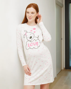 Γυναικείο Νυχτικό Εγκυμοσύνης-Θηλασμού Κρεμ με Σκυλάκι