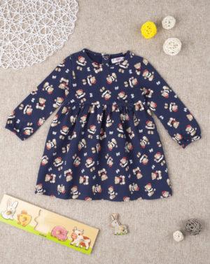 Φόρεμα Σκούρο Μπλε με Αρκουδάκια για Κορίτσι