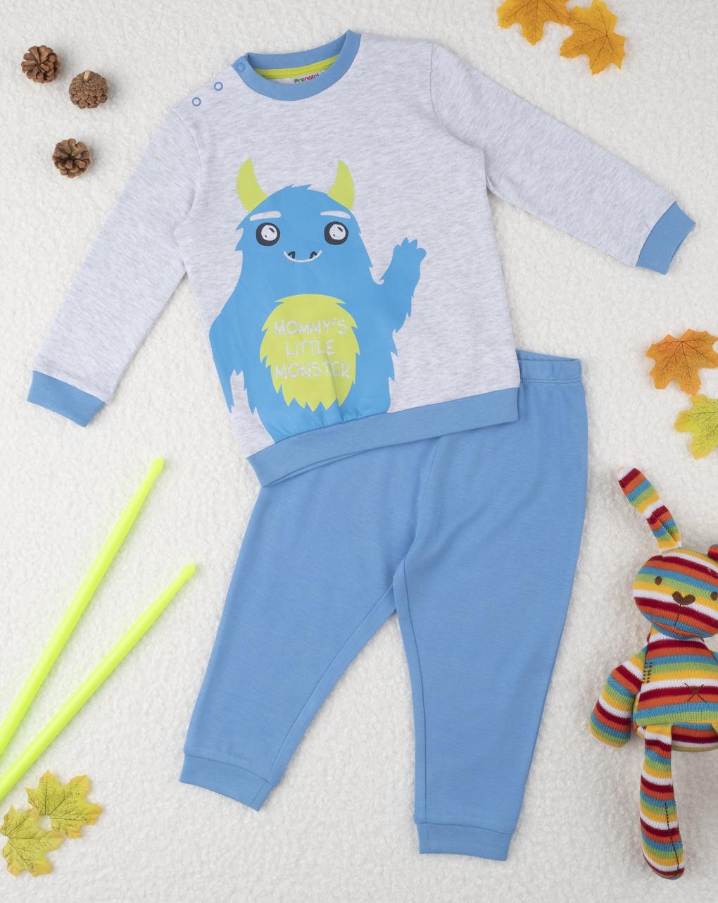 Πιτζάμα γκρι-γαλάζια με στάμπα για αγόρι