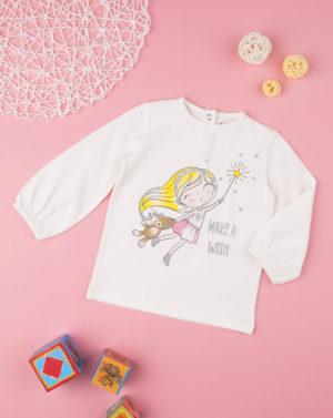 Μπλουζάκι Μακρυμάνικο με Στάμπα Λευκό για Κορίτσι