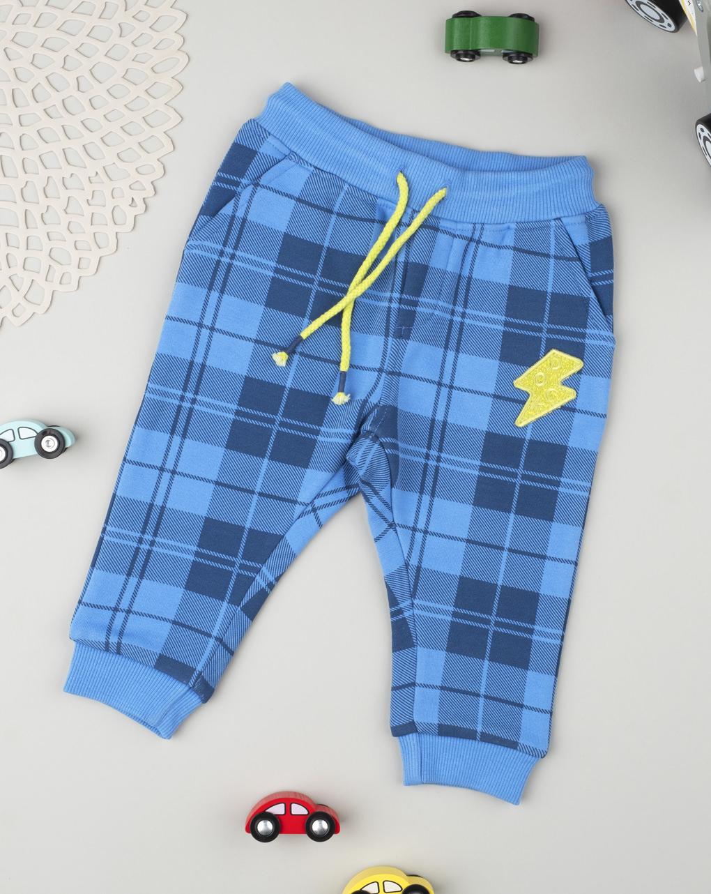 Παντελόνι Φόρμας Καρό Μπλε με Στάμπα για Αγόρι