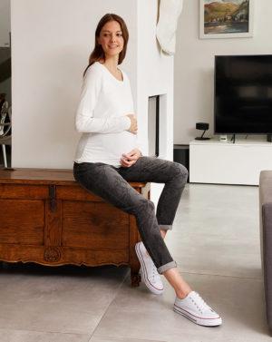 Γυναικείο Παντελόνι Denim με Πεταλούδες Regular Fit