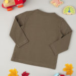 Μπλούζα Μακρυμάνικη Βαμβακερή Χακί για Αγόρι