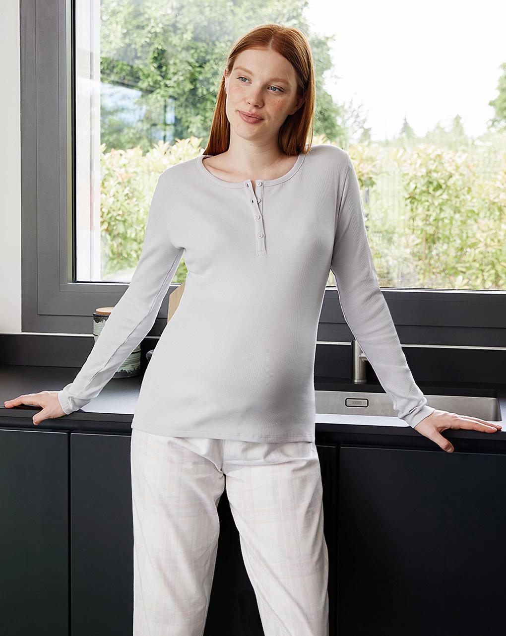 Γυναικεία Μπλούζα Πιτζάμας με Κουμπάκια Γκρι