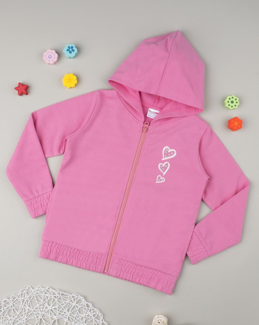 Ζακέτα Φόρμας Ροζ με Κουκούλα και Καρδούλες για Κορίτσι