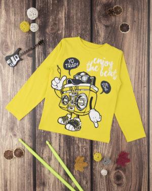 Μπλουζάκι Μακρυμάνικο με Στάμπα Κίτρινο για Αγόρι