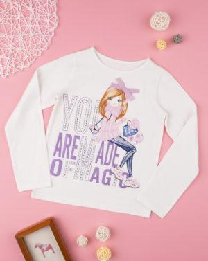 Μπλουζάκι Μακρυμάνικο με Στάμπα Εκρού για Κορίτσι