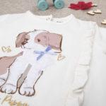 Μπλούζα Μακρυμάνικη Κρεμ με Σκυλάκι για Κορίτσι