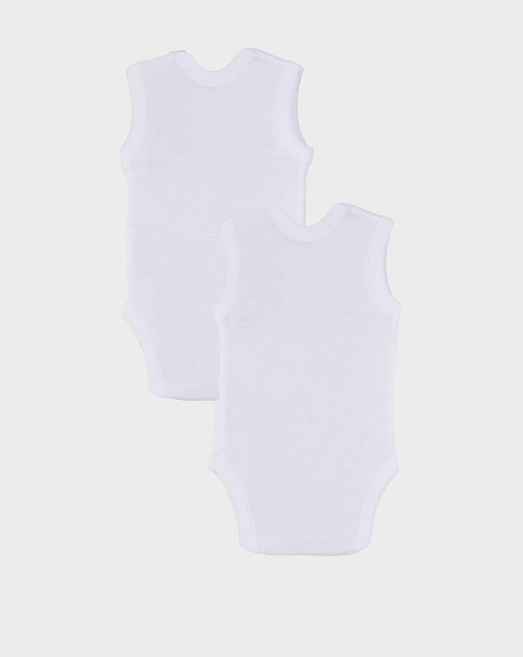 Κορμάκια Αμάνικα πακέτο x5 Λευκό