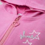 Ζακέτα Φόρμας Ροζ με Κουκούλα και Βολάν για Κορίτσι