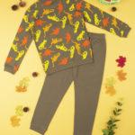 Πιτζάμα Interlock Χακί με Δεινόσαυρους για Αγόρι