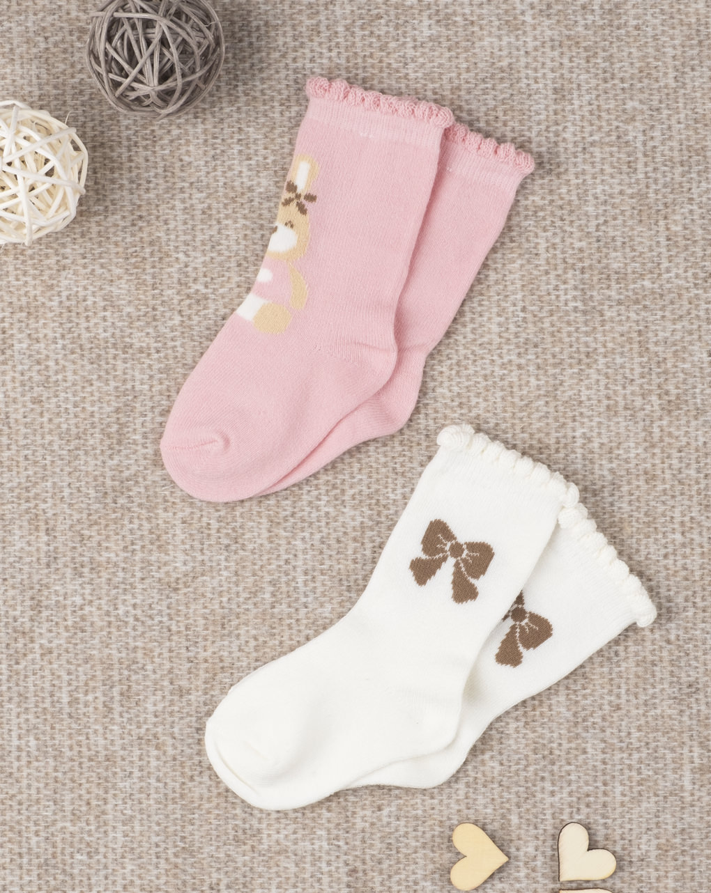 Κάλτσες Βαμβακερές Πακέτο x2 για Κορίτσι