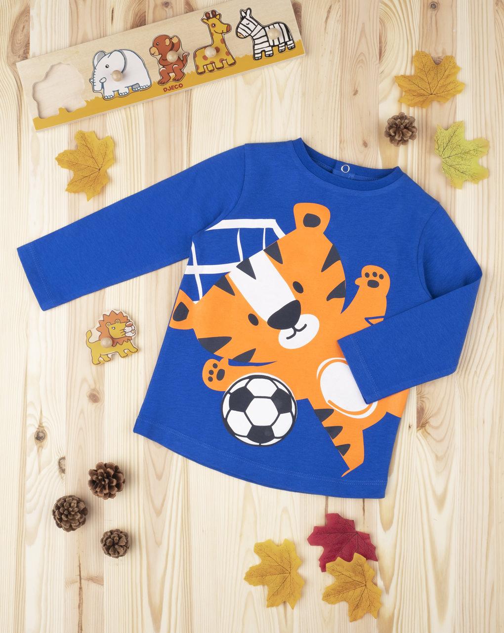 Μπλουζάκι Μακρυμάνικο με Τίγρη για Αγόρι