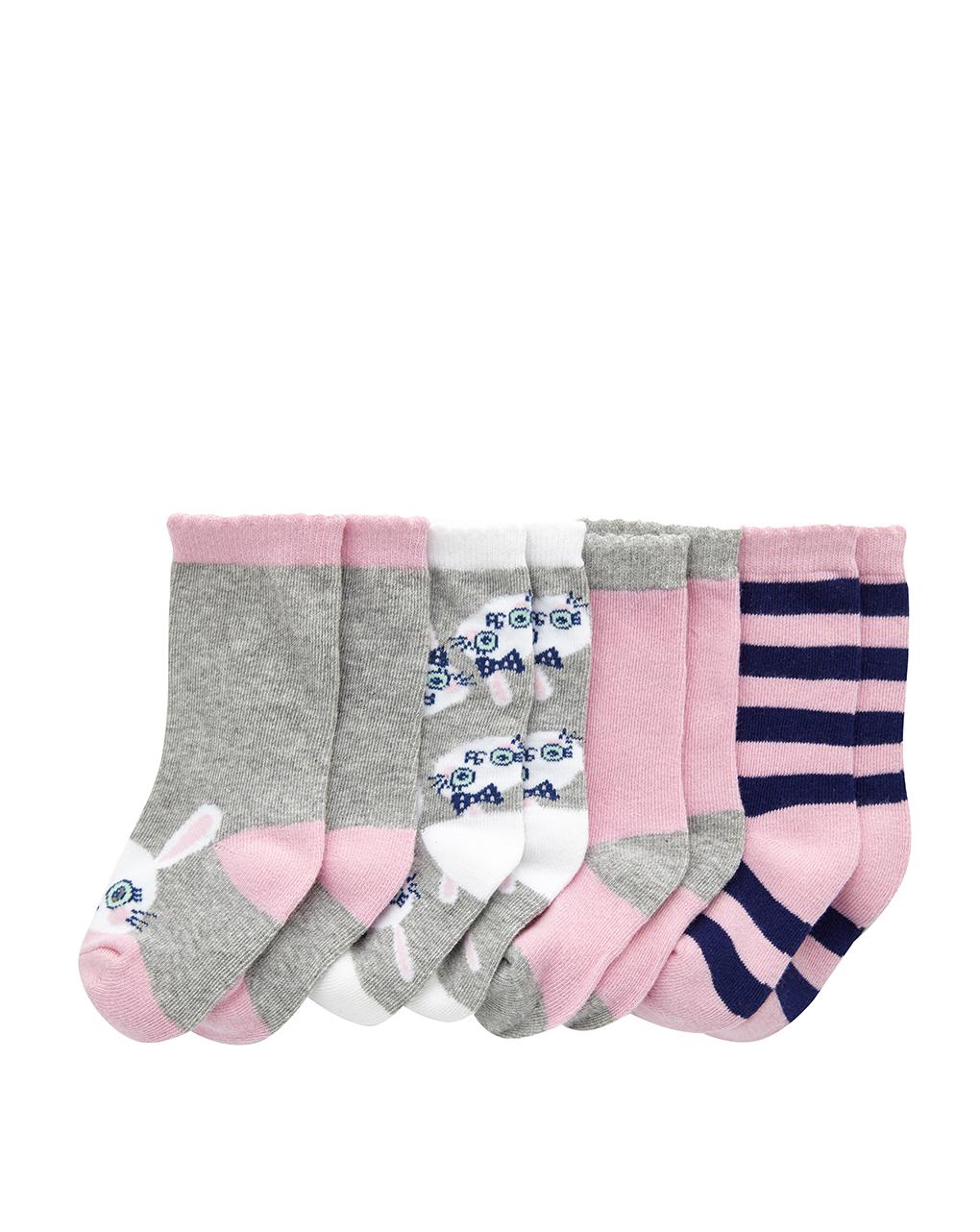 Κάλτσες Βαμβακερές με Σχέδια Πακέτο x4 για Κορίτσι