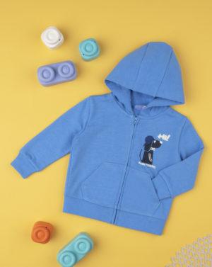 Ζακέτα Φόρμας Γαλάζια με Κουκούλα και Στάμπα για Αγόρι