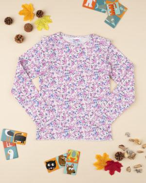 Μπλούζα Μακρυμάνικη Ριπ με Λουλουδάκια για Κορίτσι