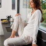 Γυναικεία Μπλούζα Πιτζάμας με Κουμπάκια Κρεμ