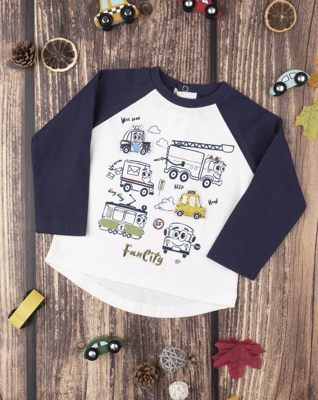 Μπλουζάκι Μακρυμάνικο Με Στάμπες για Αγόρι