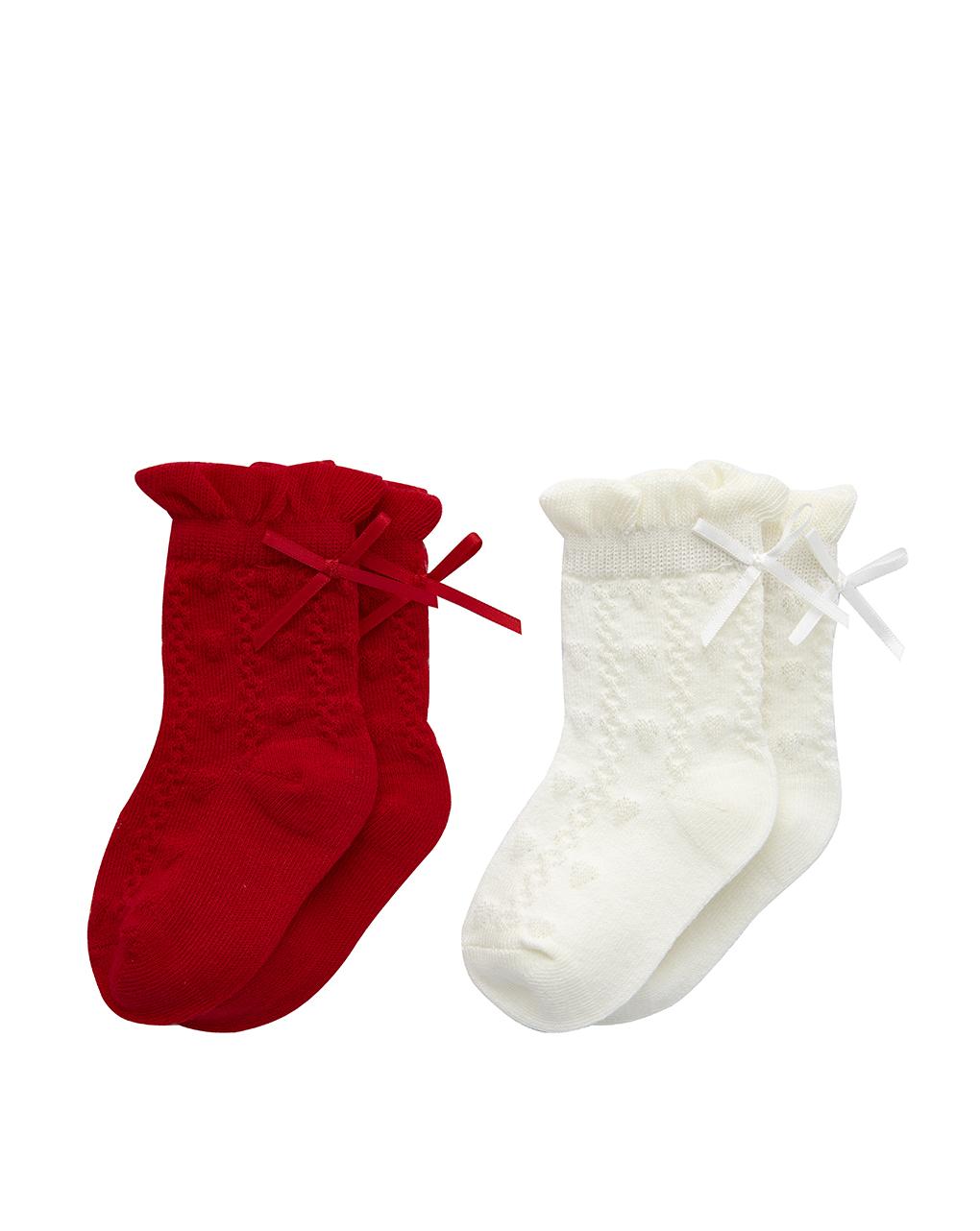 Κάλτσες Μέχρι το Γόνατο Άσπρο Κόκκινο Πακέτο x2 για Κορίτσι