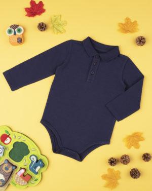 Κορμάκι Μακρυμάνικο με Εφέ Πόλο Σκούρο Μπλε για Αγόρι