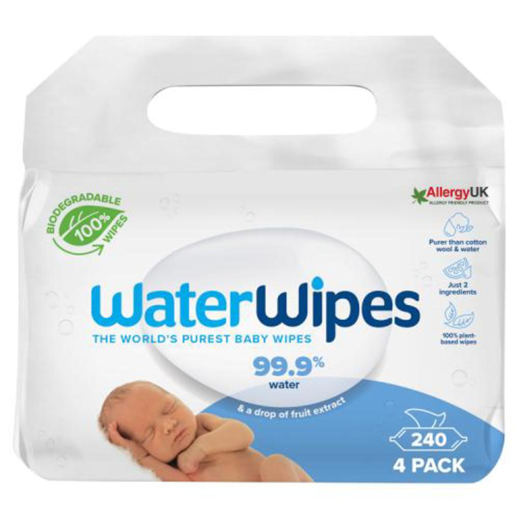 WATERWIPES Μωρομάντηλα 100% Βιοδιασπώμενα Άοσμα  (4ΠΑΚ/60ΤΜΧ)