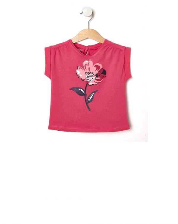 T-Shirt με Στάμπα Λουλούδια για Κορίτσι