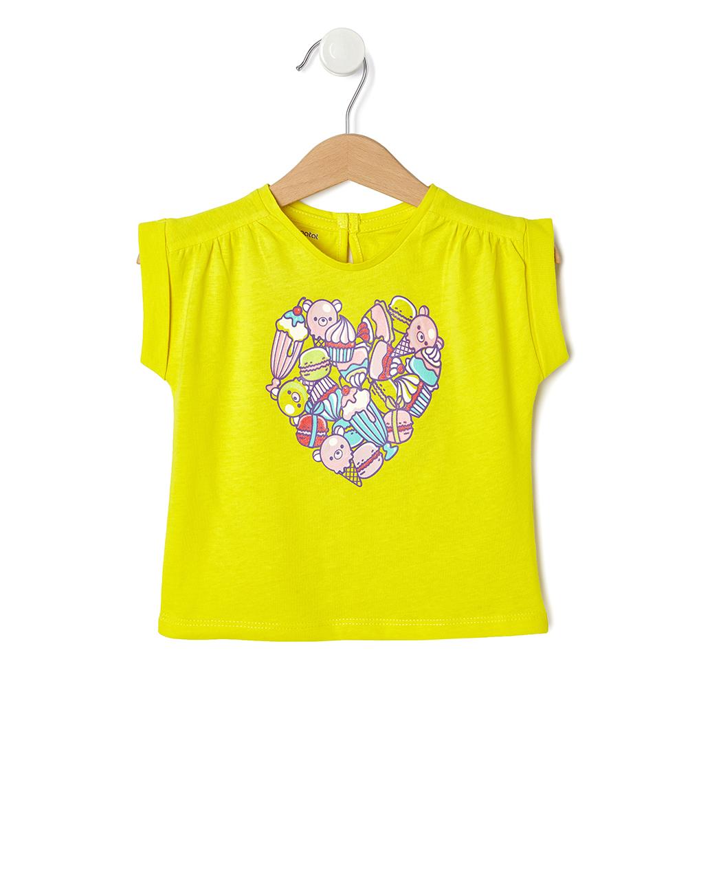 T-Shirt Κίτρινο με Καρδιά απο Παγωτά για Κορίτσι