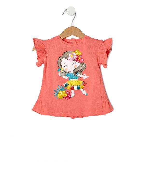 T-Shirt με Στάμπα Χαβανέζα για Κορίτσι