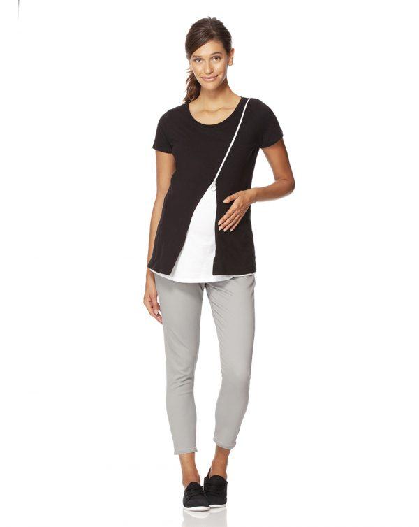 Γυναικείο T-Shirt Θηλασμού με Φερμουάρ Μαύρο-Λευκό
